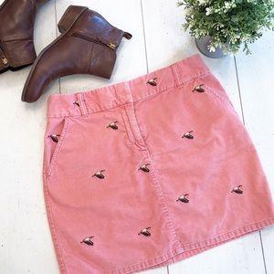J CREW pink Corduroy duck goose miniskirt SZ 6